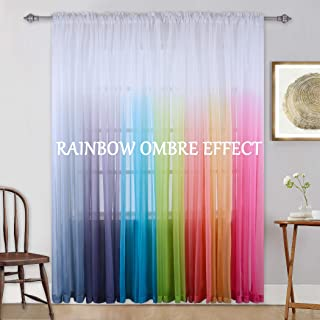 KEQIAOSUOCAI Gradient Curtains Light Purple Ombre Semi Sheer Curtain Girls Bedroom Curtain Panel Drapes Voiles for Windows/Living Room/Kids Room/Closet Set of 2 Panels 95 Inches Lavender
