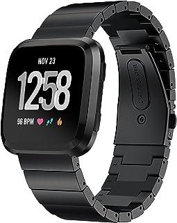Kartice Compatible Fitbit Versa Bands, Kartice Premium Solid Stainless Steel Watch Bracelet Adjustable Folding Clasp Strap Compatible Fitbit Versa Smart Watch Fitness (Black 5)