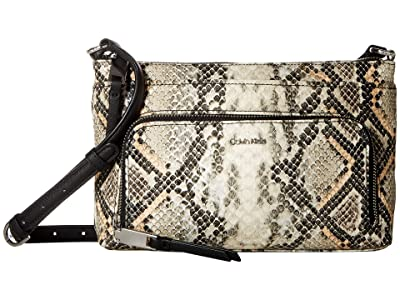 Calvin Klein Saffiano Snake Crossbody (Grey Snake) Cross Body Handbags