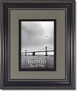 Set of 2 - 8x10 Ornate Heritage Black Picture Frames and Clear Glass with Double Slate Gray/Black Black Core Mat for 5x7