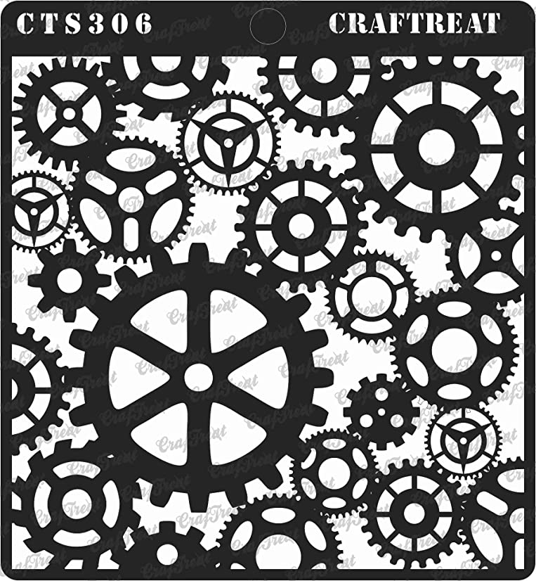 CrafTreat Stencil - Gears - Reusable Painting Template for Journal, Notebook, Home Decor, Crafting, DIY Albums, Scrapbook and Printing on Paper, Floor, Wall, Tile, Fabric, Wood 6x6 inches