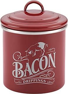 Ayesha Curry 46948 Enamel on Steel Bacon Grease Can / Bacon Grease Container - 4 Inch, Red