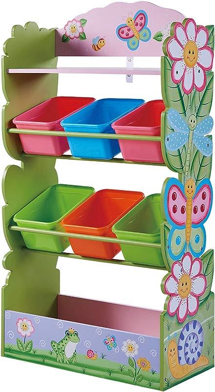 Fantasy Fields Magic Garden Kids Toy Organizer With 6 Combo Bins And Extra Storage Pink