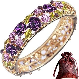 Traditional Gorgeous Chinese Cloisonne Bracelets, Rose Flower Retro Vintage Cultural Designed Enameled Jewelry, Cloisonné Accessories