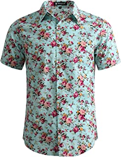 uxcell Men Short Sleeve Button Front Floral Print Cotton Beach Hawaiian Shirt