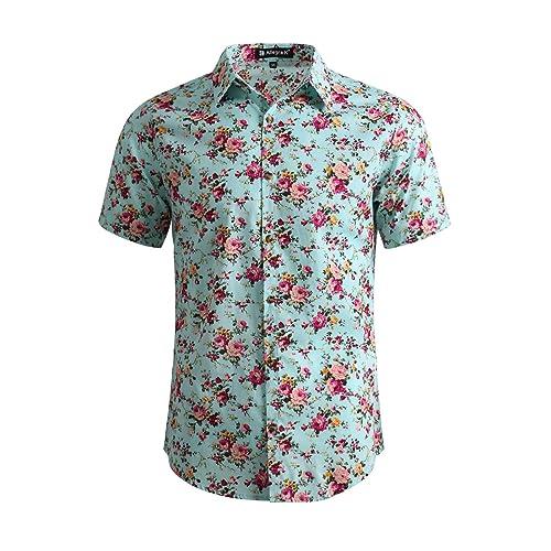 4b83c231f613 uxcell Men Short Sleeve Button Front Floral Print Cotton Beach Hawaiian  Shirt