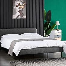 [Price Drop] Ufurniture Double Bed Frame Fabric Mattress Foundation Platform Contemporary Mattress Support - Light Grey