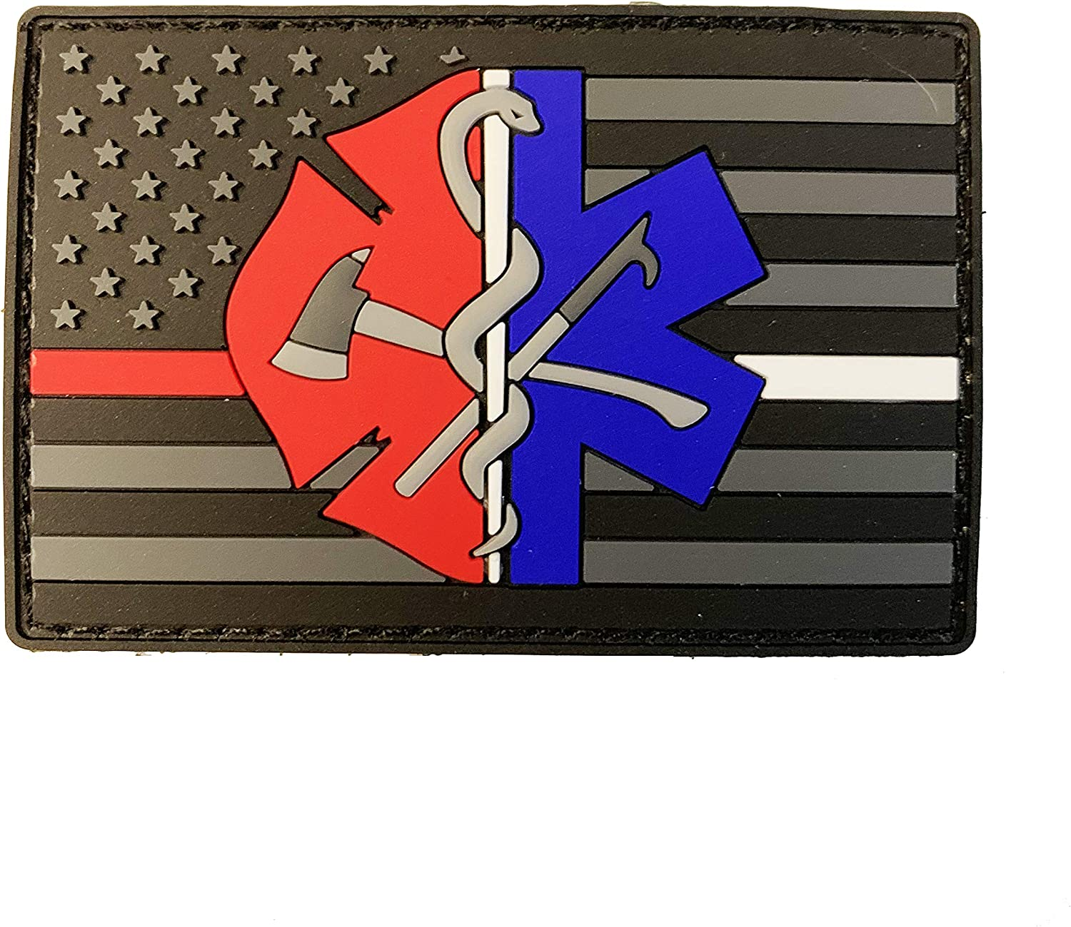 Thin Red Regular store White Line Firefighter PVC Patch Max 84% OFF Flag EMT American