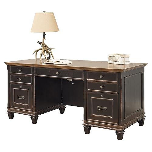 Superieur Martin Furniture Hartford Double Pedestal Shaped Desk, Brown   Fully  Assembled
