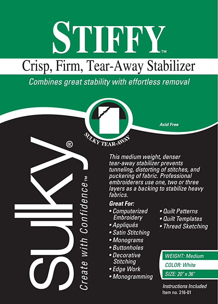 Sulky 216-01 Stiffy Tear, Away Stabilizer, 20