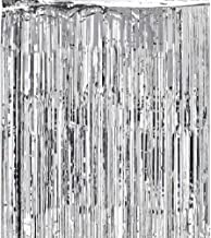 Super Z Outlet 3.2 ft x 9.8 ft Metallic Tinsel Foil Fringe Curtains for Party Photo Backdrop Wedding Decor (Silver)