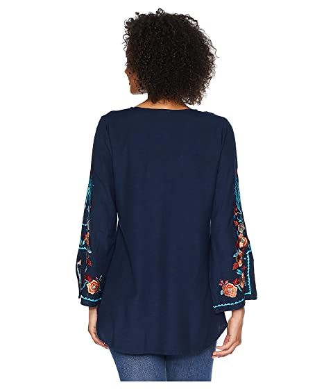 Scully Becca Embroidered Blouse Navy View Sale Websites Discount Websites Free Shipping Latest R2Rqm
