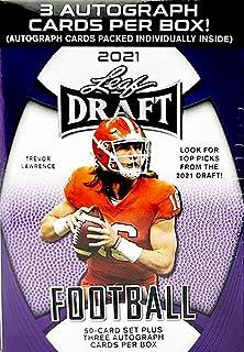 2021 Leaf Draft Football box (50-card set & THREE Autograph cards/bx)