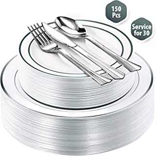 Fancy Disposable Plastic Plates with Cutlery 150 Piece Combo| 30x 10.25