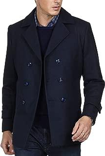 PAUL JONES Men's Stylish Slim Fit Lapel Collar Double Breasted Wool Blends Coat