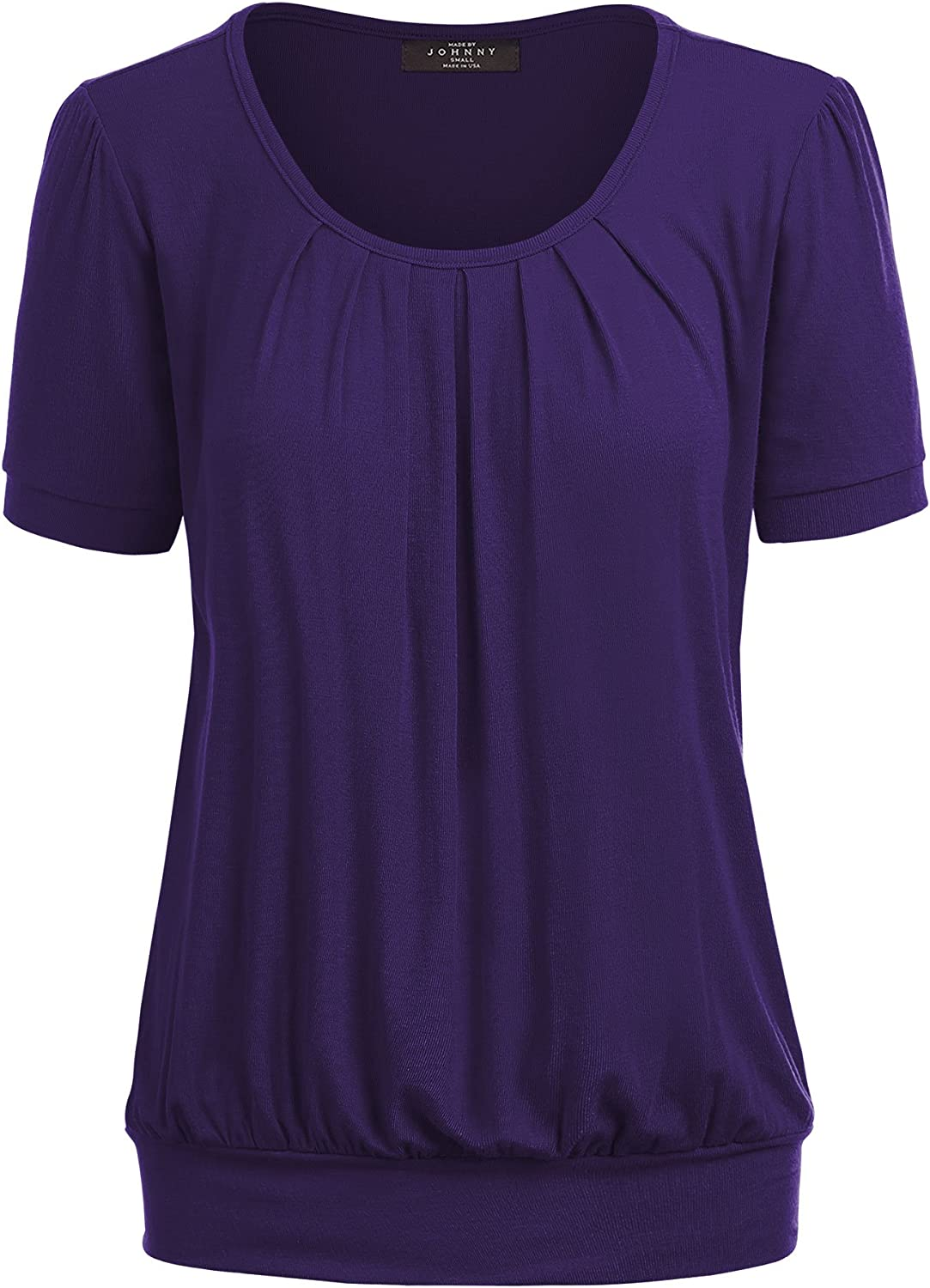 Made by Johnny WT1175 Womens Scoop Neck Short Sleeve Front Pleated Tunic XXL Purple