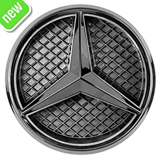 Patricon Xenon White LED Illuminated Logo Car Front Grilled Star Emblem for Mercedes Benz 2013-2018 A/B/C/CLS/E/GLK/GL/R Series Center Front Badge Lamp Light (Matte Black)