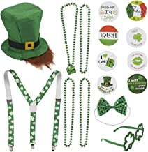 16 Piece Set St. Patrick's Day Leprechaun Costume Party Accessories - Includes St. Patty's Day Leprechaun Hat and Beard, Suspenders, Bead Necklaces, Bow Tie, Shamrock Shaped Glasses, and Pins