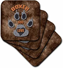 3dRose Boxer Dog Love Dog Breed in Gray and Brown - Ceramic Tile Coasters, Set of 4 (CST_22042_3)