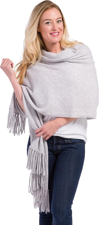 Fishers Finery Women's 100% Cashmere Knit Shawl Wrap with Fringe | Oversized