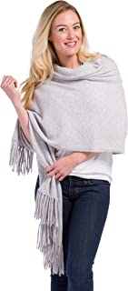 """Fishers Finery Women`s 100% Cashmere Knit Shawl Wrap with Fringe; 78"""" X 28""""; with Exquisite Gift Box"""