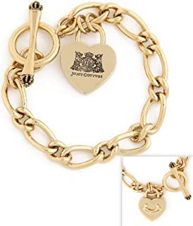Juicy Couture Gold Plated Starter Charm Bracelet w Heart Padlock Charm YJRU5208