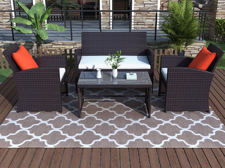 LASBAK 4 Pieces Patio Furniture Set Sectional Outdoor Sofa Max 73% OFF Super Special SALE held R PE