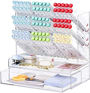 Acrylic Pen Organizer, Multi-Functional Desk Organizer Pen Holder Stationery, Marker Pen Organizer Storage & Art Supplies for Office, School, Home, Clear