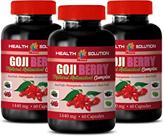 Blood Pressure lowering Products - Goji Berry - Natural ANTIOXIDANT Complex - Acai Berry Weight Loss Pills - 3 Bottles 180 Capsules