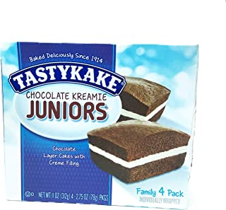 Tastykake Chocolate Kreamie Juniors | Chocolate Layer Individual Snack Cakes with White Creme Filling (Package of 3 Boxes)