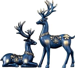MAYIAHO Reindeer Figurines Decor Sculpture Statues for Home Decorations Living Room Accessories Clearance Deer Large Knick Knacks Indoor Adornos para La Sala Elegantes Bookshelf Modern Christmas Blue