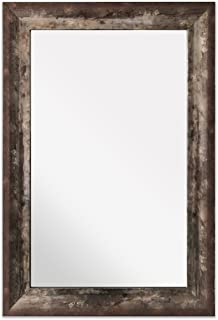 Raphael Rozen Elegant , Modern , Classic , Vintage , Traditional , Rustic , Hanging Framed Wall Mounted Mirror Modern Pewter W/Scoop (Copper, 20x30)