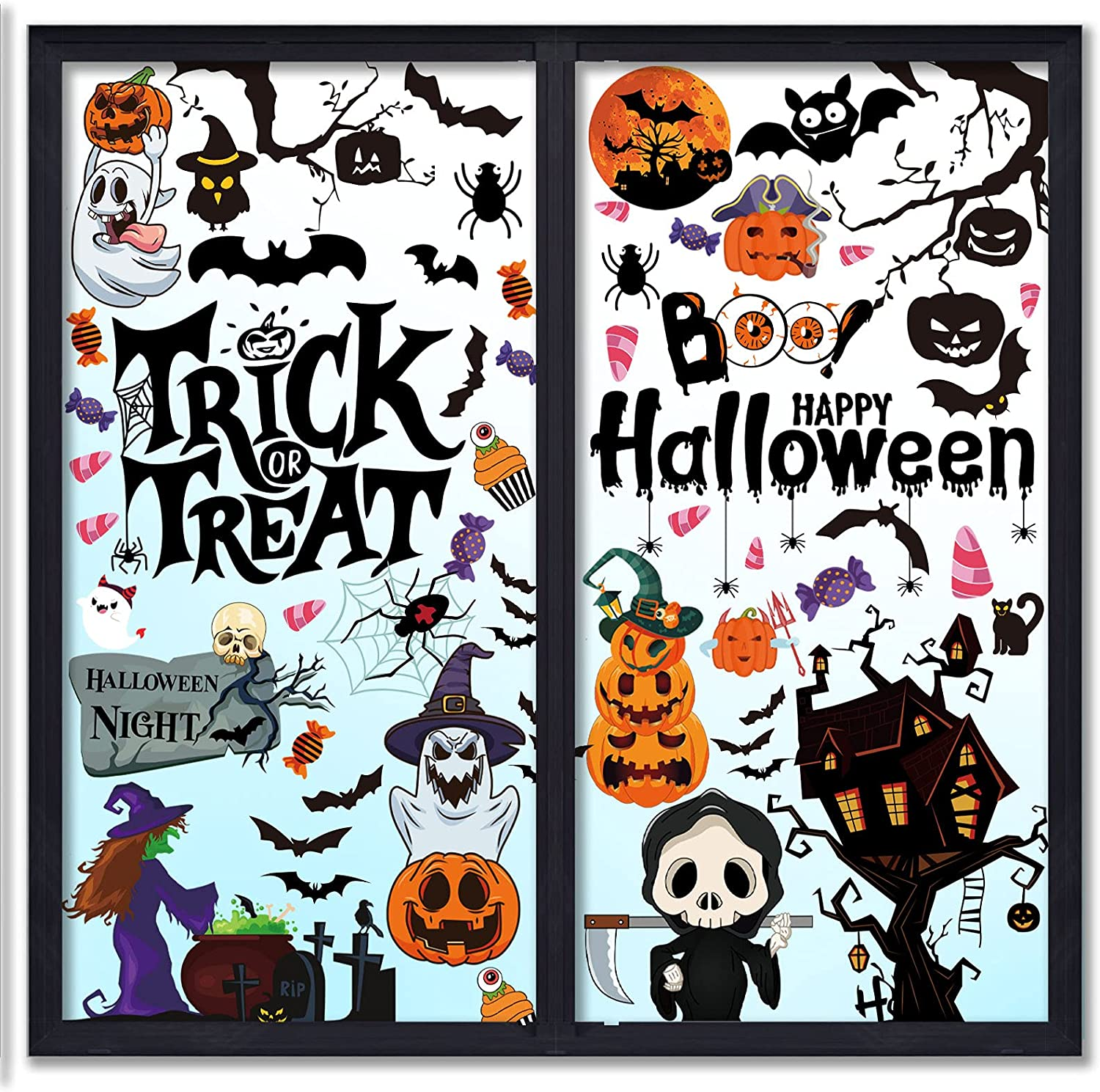 CIIRED 96pcs Halloween Window Omaha Don't miss the campaign Mall Clings Double-Si for Windows Glass