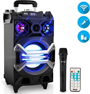 """Pyle 500 Watt Outdoor Portable BT Connectivity Karaoke Speaker System - PA Stereo with 8"""" Subwoofer, DJ Lights Rechargeable Battery Microphone, Recording Ability, MP3/USB/SD/FM Radio - PWMA325BT"""