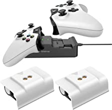 Smatree Rechargeable Battery (2 Pack) Compatible for Xbox One/Xbox One X/Xbox One S/ Xbox One Elite Wireless Controller with Dual Charging Station High Speed Docking White