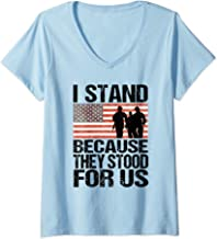 Womens I Stand Because They Stood For Us Patriotic USA Anthem Pride V-Neck T-Shirt