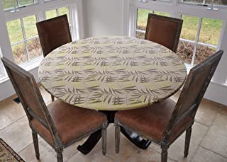 Covers For The Home Deluxe Elastic Edged Flannel Backed Vinyl Fitted Table Cover - Fern Pattern - Large Round - Fits Tables up to 45