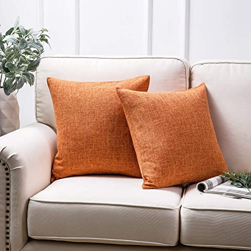 discount Phantoscope Throw Pillow Cover Textured Faux Linen Series popular Decorative Cushion Covers for Home Decor Sofa Pack of 2, Orange 18 x outlet online sale 18 inches 45 x 45 cm outlet online sale
