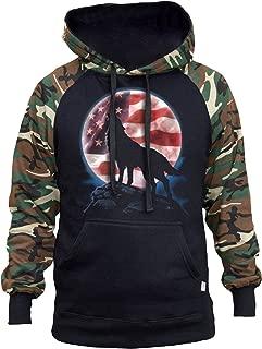 Men's American Moon Howling Wolf Black/Camo Raglan Baseball Hoodie Black