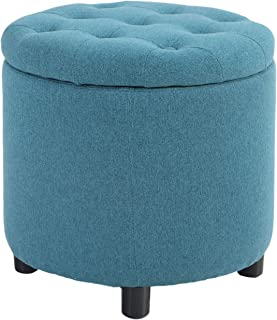 ALPHA HOME Large Round Storage Ottoman with Removable Lid & Thick Cushion Button Tufted Vanity Dressing Chair Linen Fabric...