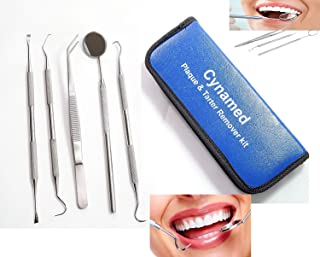 Professional Dental Hygiene Kit, Calculus Plaque Remover Set, Stainless Steel Tools, Tarter Scraper, Tooth Pick, Dental Scaler and Mouth Mirror Instruments. Hygienist Kit, Home Use Tools for Adults