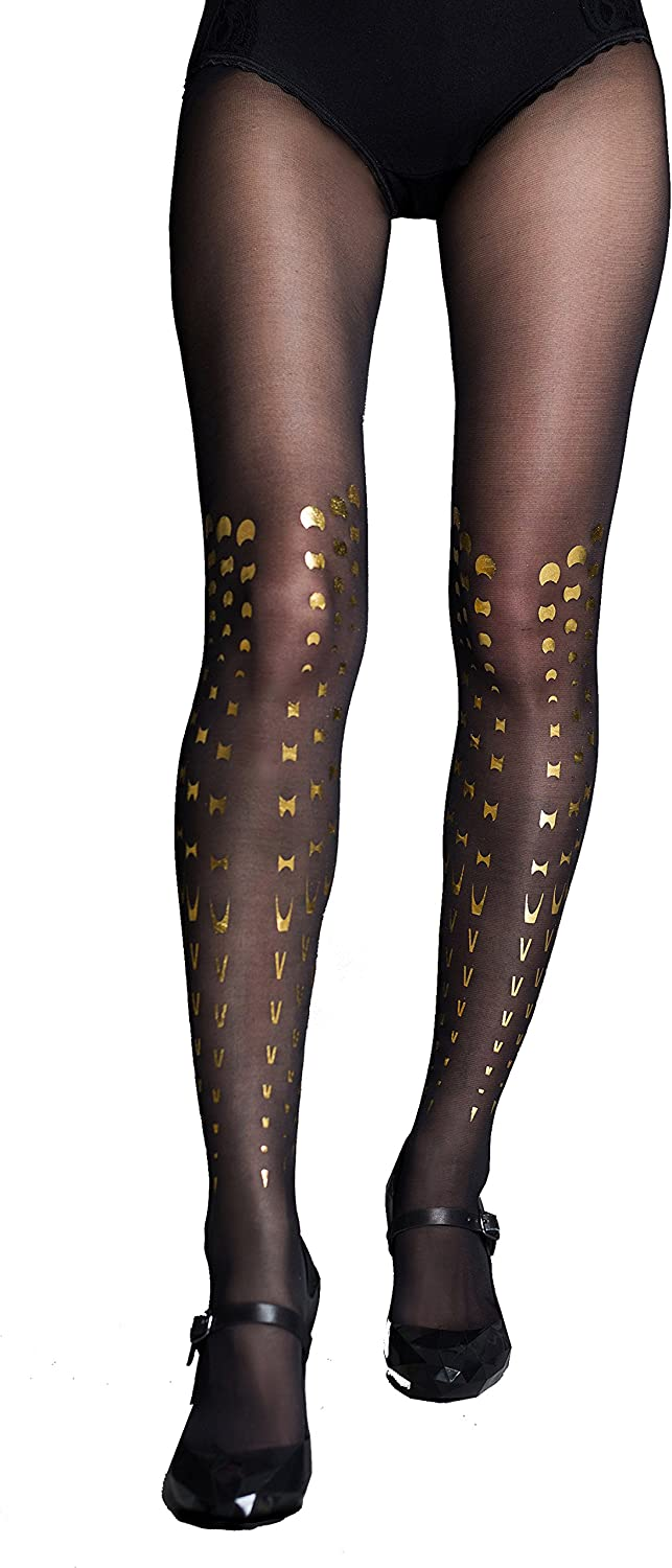 Stern Tights Kylie gold Tattoo Sheer Black Tights Full Length Stockings