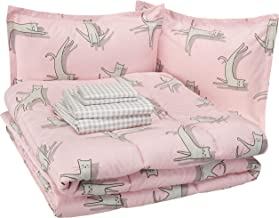AmazonBasics Easy-Wash Microfiber Kid's Bed-in-a-Bag Bedding Set - Full / Queen, Pink Cats
