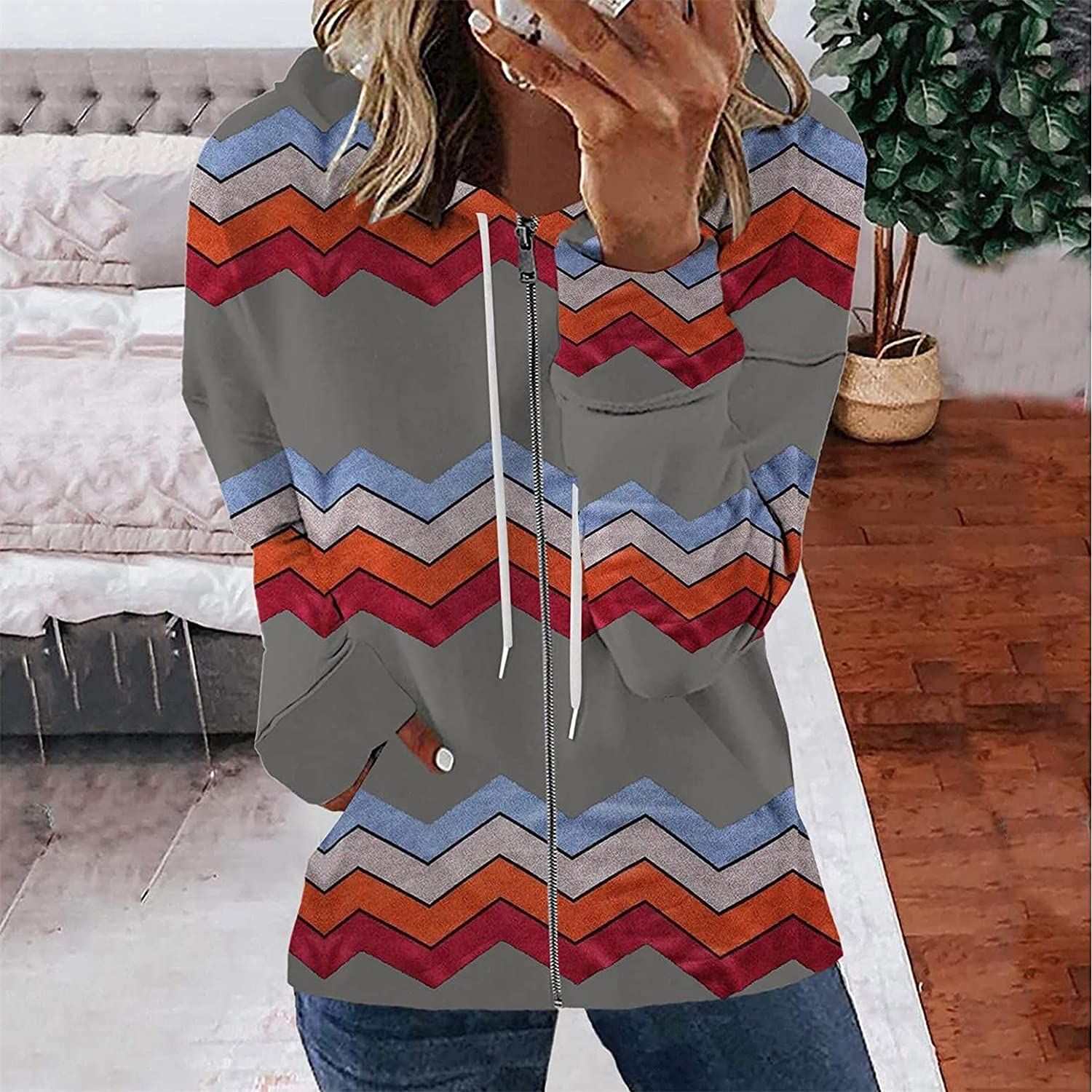 Long Sleeve Shirts for Women Zip Up Drawstring Blouse Stitching Color Casual Active Tops Loose Sweatshirt