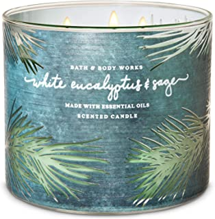 Bath & Body Works Scented Candles 3 Wick Winter White Eucalyptus & Sage 14.5 oz