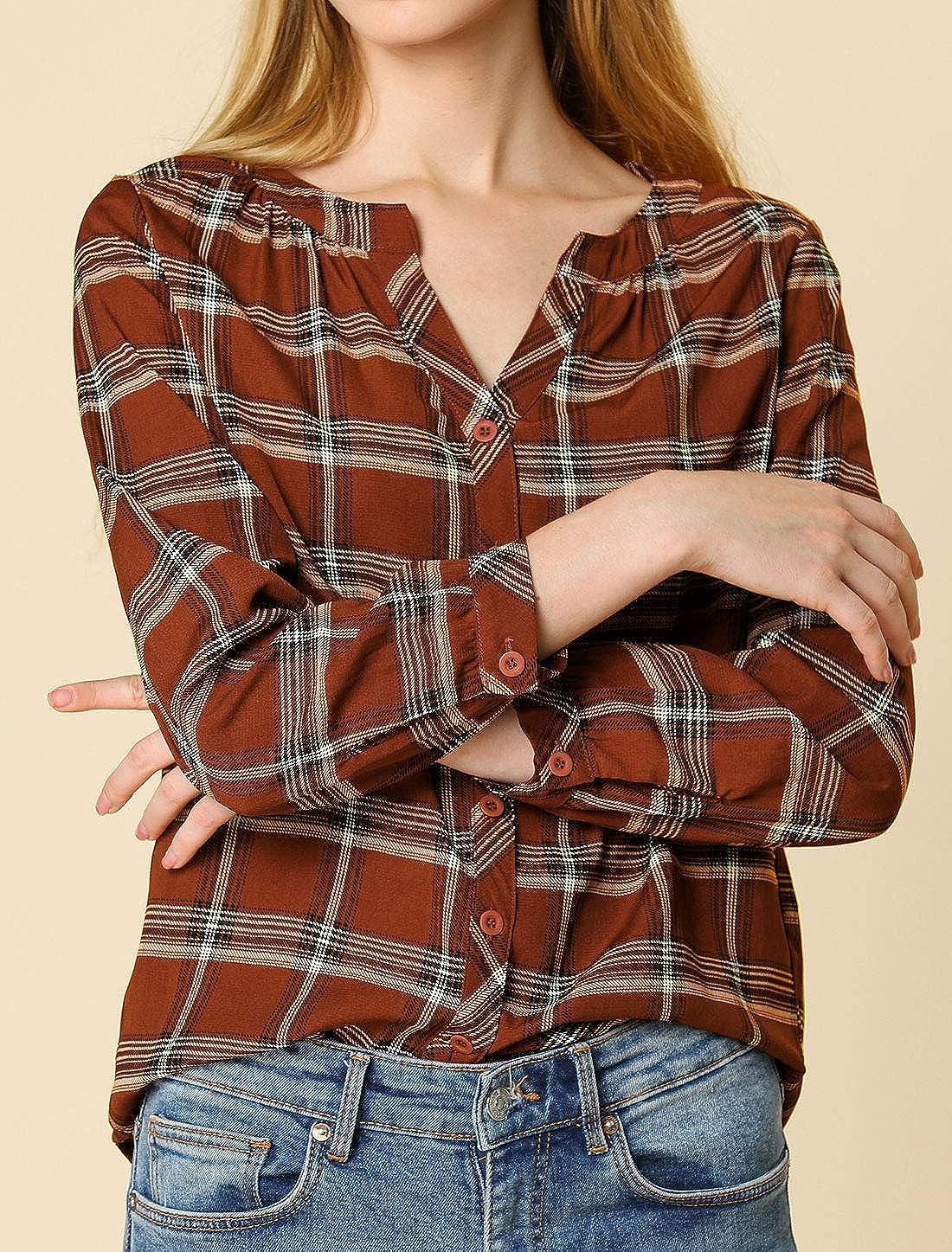 Allegra K Womens Button Up Vintage Shirt Split Neck Plaid Blouse Tops