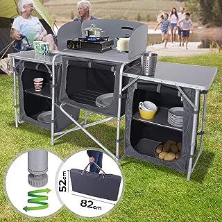 Festnight Campingk/üche aus Aluminium mit Windschutz und Tragetasche Klappbar