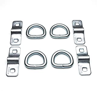 """WorldPac (Pack of 4) Heavy Duty 3/8"""" 5,000lbs Anchor Point Surface Mount Tie Down D Ring"""