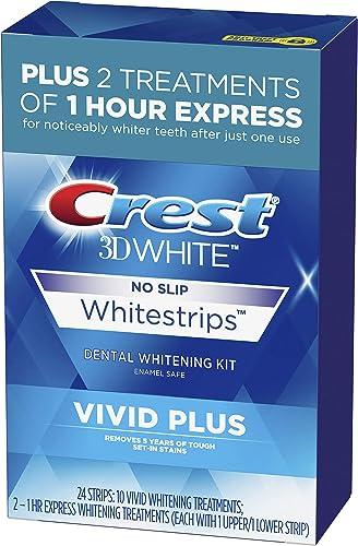 Crest 3D White Whitestrips Vivid Plus Teeth Whitening Kit, Individual Strips (10 Vivid Plus Treatments + 2 1hr Expres...