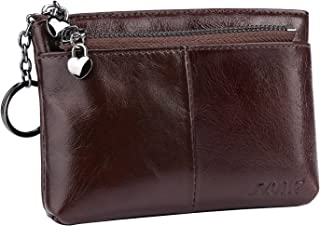 S-ZONE Women's Genuine Leather Triple Zipper Small Wallet Change Coin Purse Card Holder with Key Ring